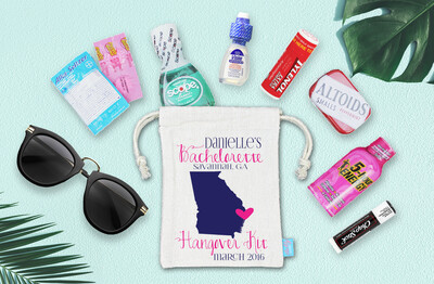 Destination Map Bachelorette Hangover Kit Favor