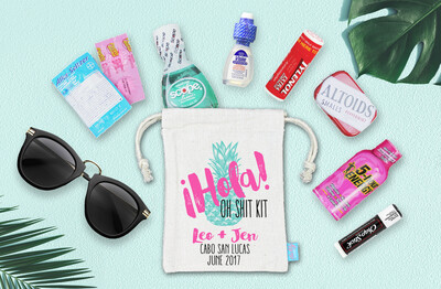 Hola Oh Shit Kit Destination Wedding Hangover Bag