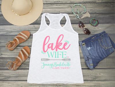 Lake Wife Lake Bachelorette Party Racerback Tank Top