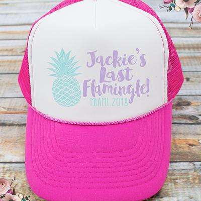 Last Flamingle Pineapple Bachelorette Party Trucker Hat