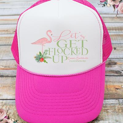 Let's Get Flocked Up Flamingle Flamingo Bachelorette Party Trucker Hat