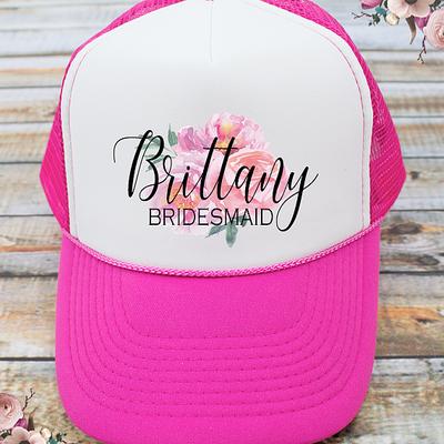Personalized Floral Bridal Party Bachelorette Party Trucker Hat