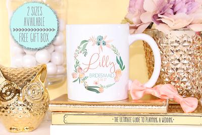 Floral Bridal Party Personalized Mug -Bridal Party Mug