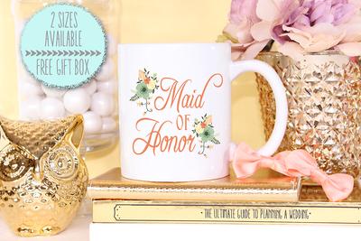 Floral Maid of Honor -Bridal Party Mug