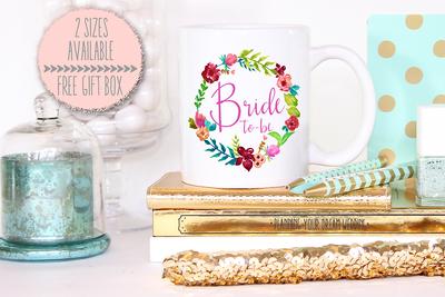Floral Bride to Be Wreath Wedding Engagement Mug