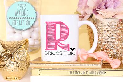 Funky Initial Bridal Party Mug