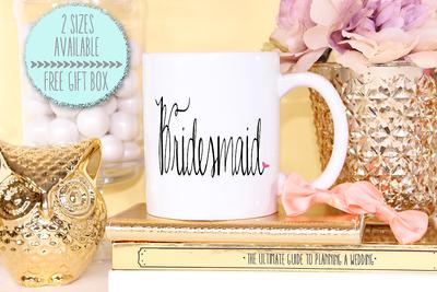 Fancy Bridesmaid Heart -Bridal Party Mug