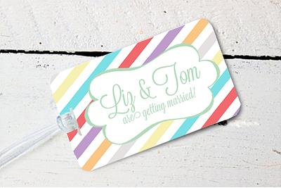 Striped Colored Destination Wedding Luggage Tag