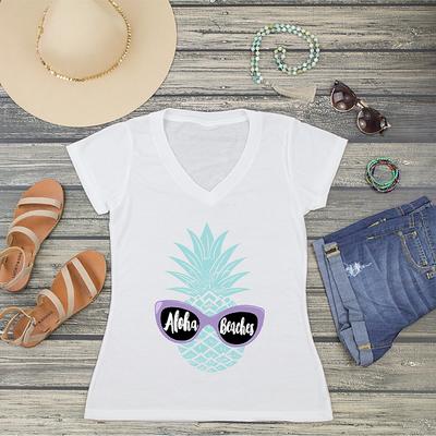 Aloha Beaches Bachelorette V-Neck T-Shirt Fashion Tee