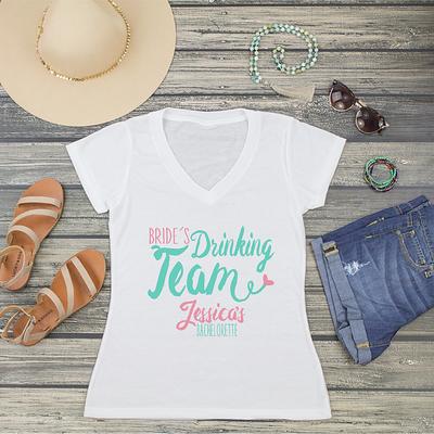 Bride's Drinking Team V-Neck T-Shirt Fashion Tee