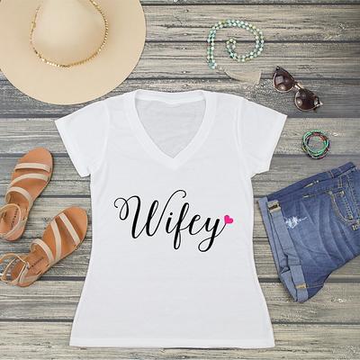 Wifey Fancy Heart V-Neck T-Shirt Fashion Tee