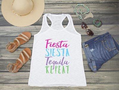 Fiesta Siesta Tequila Repeat Racerback Tank Top