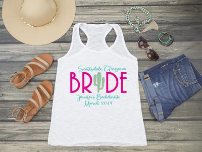 Scottsdale Arizona Cactus Bride- Bachelorette Racerback Tank Top