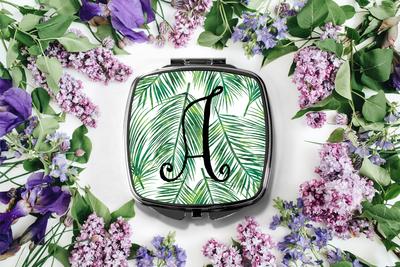 Tropical Palm Leaf Initial Compact Mirror -Bridesmaid Bridal Party Mirror