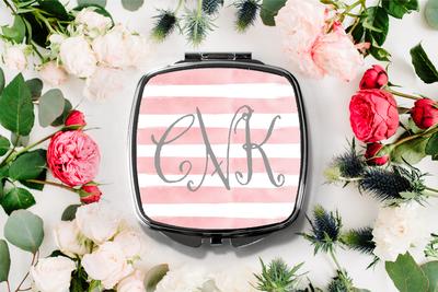 Fancy Monogram Stripe Compact Mirror -Bridesmaid Bridal Party Mirror