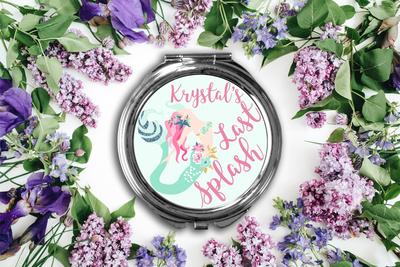 Last Splash Bachelorette Mermaid Compact Mirror -Bridesmaid Bridal Party Mirror
