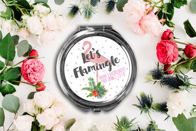 Lets Flamingle Bachelorette Party Compact Mirror -Bridesmaid Bridal Party Mirror