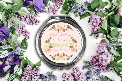Thank You Personalized Bridal Party Compact Mirror -Bridesmaid Bridal Party Mirror