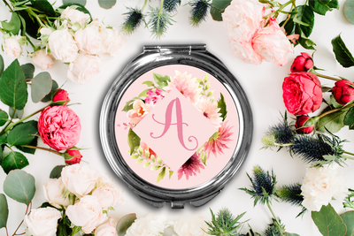 Fancy Floral Frame Initial Compact Mirror -Bridesmaid Bridal Party Mirror