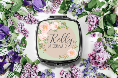 Personalized Floral Frame Compact Mirror -Bridesmaid Bridal Party Mirror