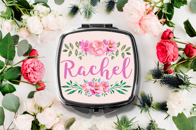 Fancy Floral Personalized Name Compact Mirror -Bridesmaid Bridal Party Mirror
