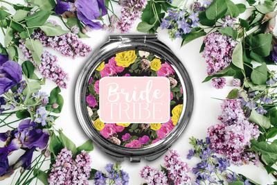 Bride Tribe Floral Compact Mirror -Bridesmaid Bridal Party Mirror