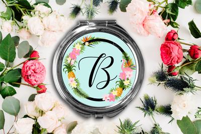 Floral Wreath Initial Compact Mirror -Bridesmaid Bridal Party Mirror