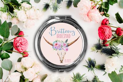 Floral Deer Personalized Compact Mirror -Bridesmaid Bridal Party Mirror