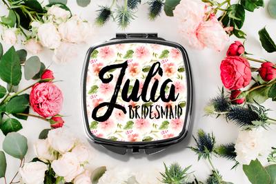 Floral Funky Personalized Compact Mirror -Bridesmaid Bridal Party Mirror