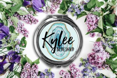 Personalized Agate Compact Mirror -Bridesmaid Bridal Party Mirror