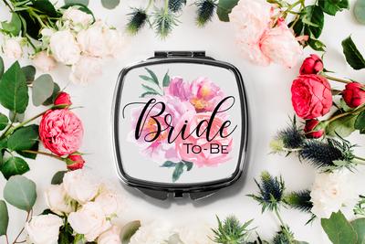 Floral Bride to Be Compact Mirror -Bridesmaid Bridal Party Mirror