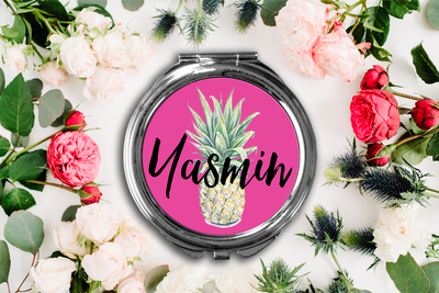 Personalized Funky Pineapple Compact Mirror -Bridesmaid Bridal Party Mirror