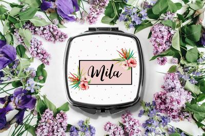 Tropical Personalized Compact Mirror -Bridesmaid Bridal Party Mirror