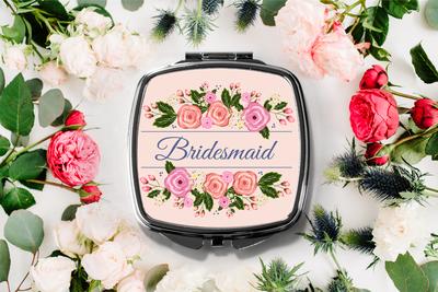 Floral Bridesmaid Compact Mirror -Bridesmaid Bridal Party Mirror