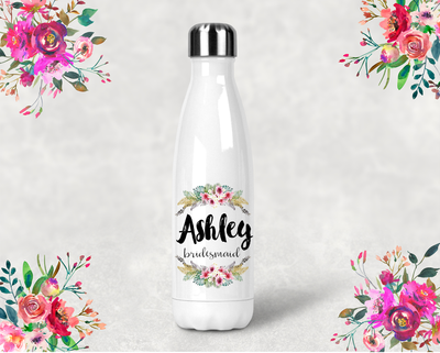 Floral Bridal Party Personalized Water Bottle -Swell Style Water Bottle