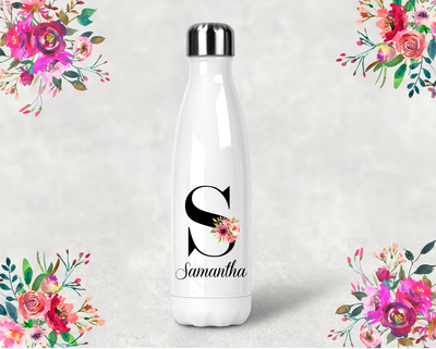 Personalized Floral Initial Bridal Party Water Bottle -Swell Style Water Bottle