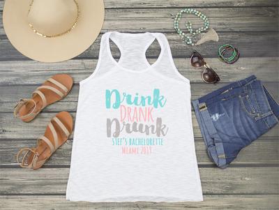 Drink Drank Drunk Bachelorette Party Racerback Tank Top