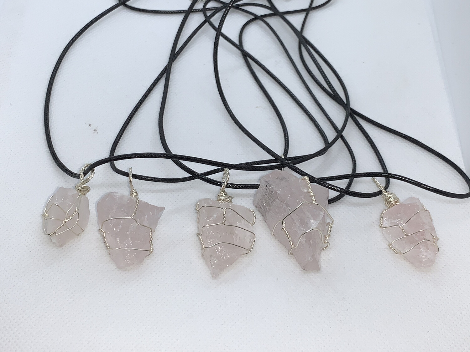 Raw Rose Quartz Wired Wrapped Necklace