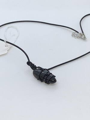 Blue Tigers Eye Wired Wrapped Necklace