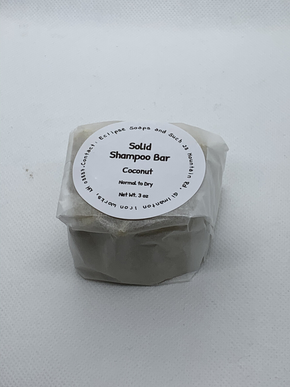 Solid Shampoo Bar Coconut 3 oz