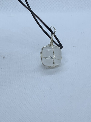 Clear Quartz Cubed Wired Wrapped Necklace