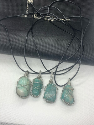 Amazonite wired wrapped necklace