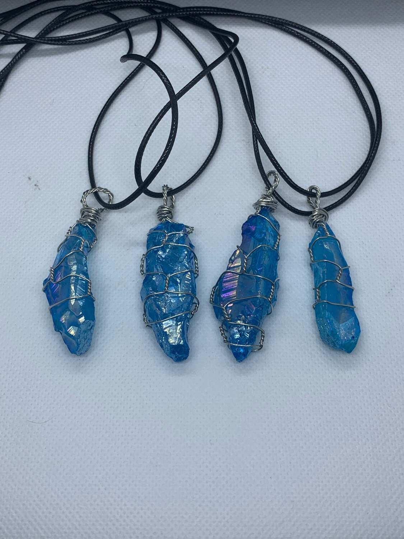Blue Aura Quartz Wire Wrapped Necklace
