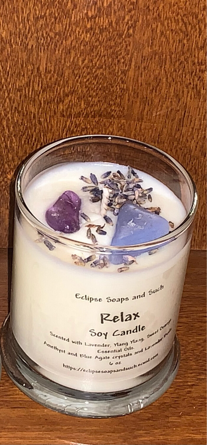 Relax Essential Oil Soy Candle With Crystals 6oz