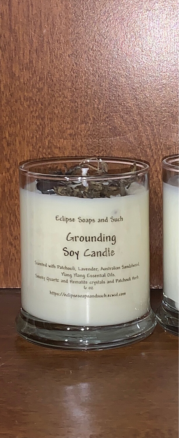 Grounding Essential Soy Candle With Crystals