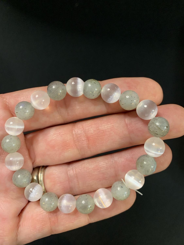 Rainbow Moonstone And Selenite Crystal Bead Bracelet