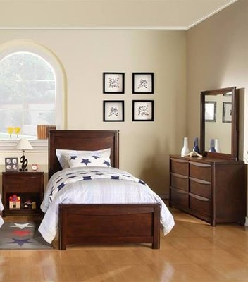 Holland House Greenville Twin Panel Bed, Nightstand, Dresser & Mirror