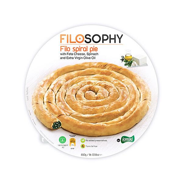Пирог греческий Филло спиральный со шпинатом, сыром фета и оливковым маслом, ФИЛОСОФИ, 850г
