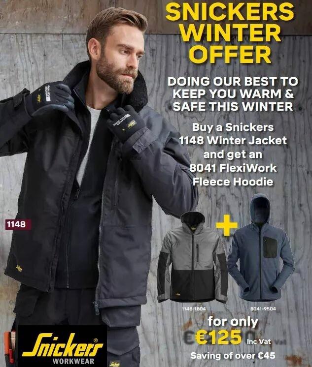 Snickers 1148 Winter Jacket + Flexiwork Fleece Hoodie