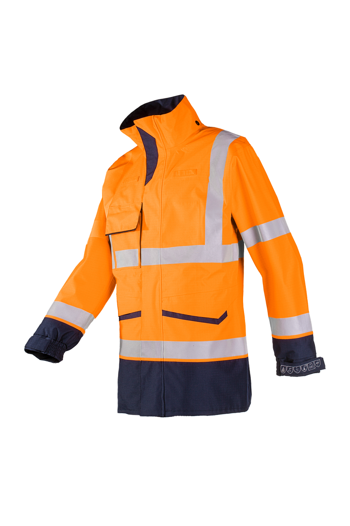 FALCON FLAME RETARDANT, ANTI-STATIC HI VIS RAIN JACKET